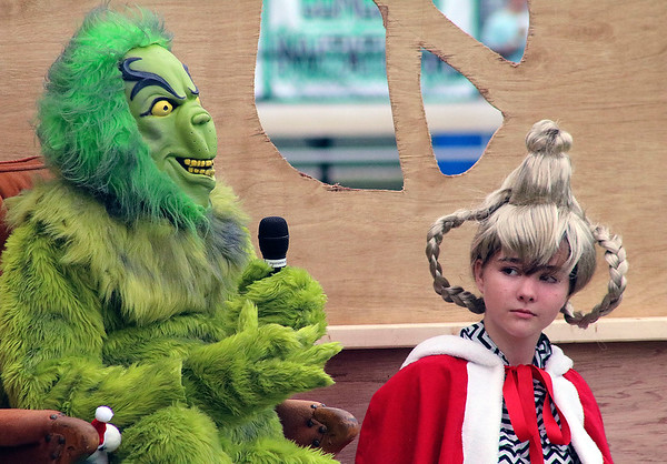 "Roger Schneider | The Goshen News<br /> Cindy Lou Who listens to The Grinch during the Wawasee Warriors March Pride's rendition of its ""The Grinch Rewrapped"" show Saturday."