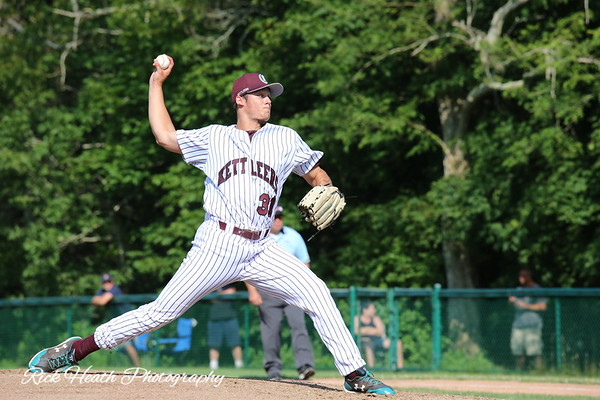 # 31, Zachary McCambley, Coastal Carolina, bears down against a Brewster Whitecap batter. Zach pitched the second game of the double header on Sunday June 23, 2019 at Lowell Park.