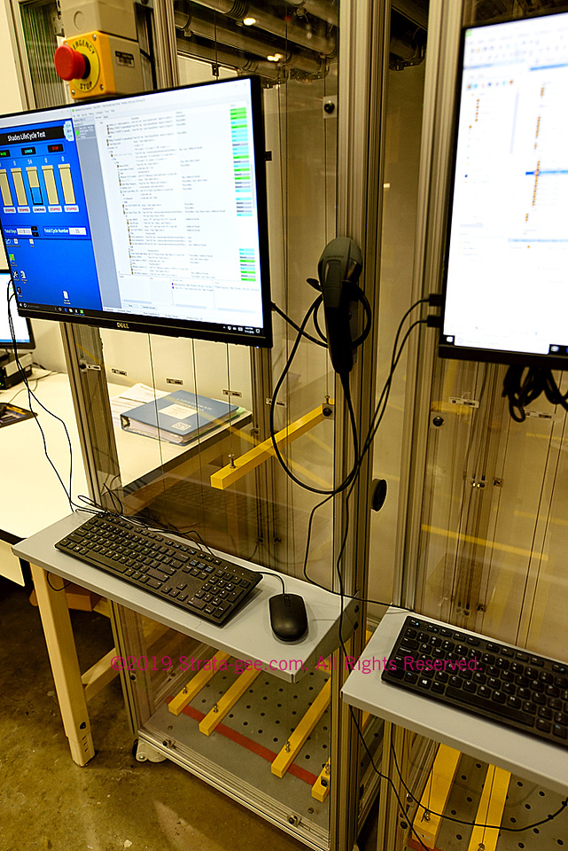 motorized blind testing using yellow weighted bars
