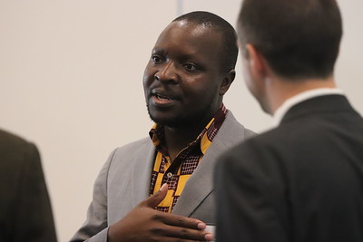 Keynote speaker and WASD special guest, William Kamkwamba, visits with attendees prior to the program.