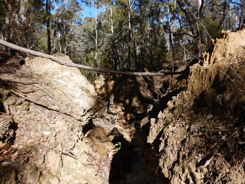 Eroded creek.  Don't cross on this stick !