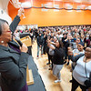 President Katherine Conway-Turner presenting toast to graduating seniors at the Commencement Preview at Buffalo State College.