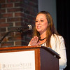 Mildred Campbell Student Leadership Award winner, Kaytland Gambles speaking  during the Student Leadership Awards ceremony at Buffalo State College.