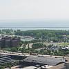 Panorama of downtown Buffalo, Skyway and lakeshore.