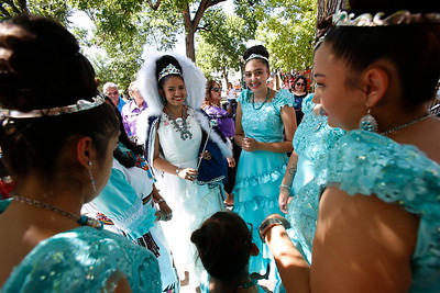 La Reina, Elise Lopez y Leyba, waits with her court for the start of the 306th Fiestas de Santa Fe at the Plaza on Friday, September 6, 2019. Luis Sánchez Saturno/The New Mexican