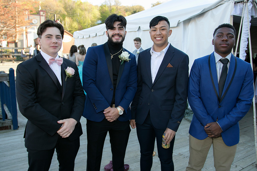 . Scenes from the Fitchburg High School Prom at Wachusett Mountain Ski Area, May 11, 2019. Sam Robichaud, Dylan Araujo, Kobe Louangsabouth and Neville Yangsi at the prom SENTINEL & ENTERPRISE/JOHN LOVE