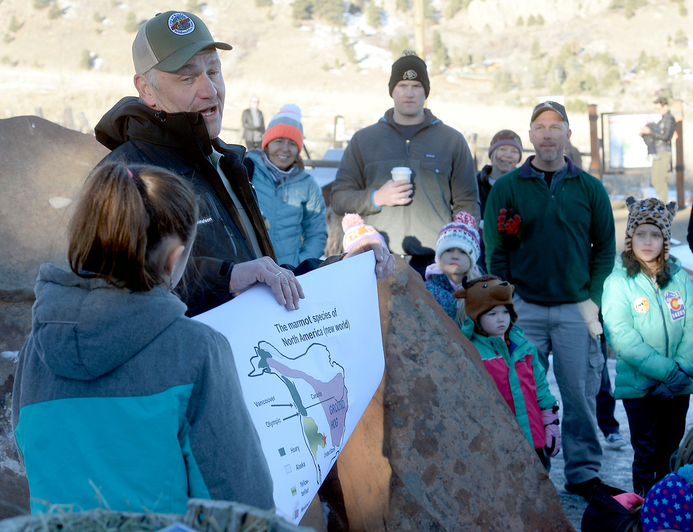 . BOULDER, CO - February 2, 2019:  Chautauqua park ranger, Dave Gustafson, points out where ground hogs are found in the United States. The annual Flatiron Freddy extravaganza at Chautauqua Park was held on Ground Hog Day on Saturday. For more photos and a video, go to dailycamera.com. (Photo by Cliff Grassmick/Staff Photographer)