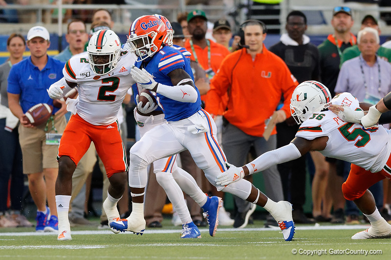 Photos from the first half as the University of Florida Gators trail the University of Miami Hurricanes 13-7 at Camping World Stadium in Orlando, Florida.  August 23rd, 2019. Gator Country Photo by David Bowie.