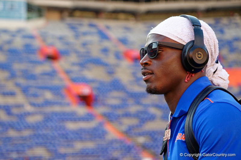 Florida Gators wide receiver Kadarius Toney (1) during Gator Walk as the Gators prepare to face UT Martin at Ben Hill Griffin Stadium in Gainesville, Florida.  September 7th, 2019. Gator Country Photo by David Bowie.