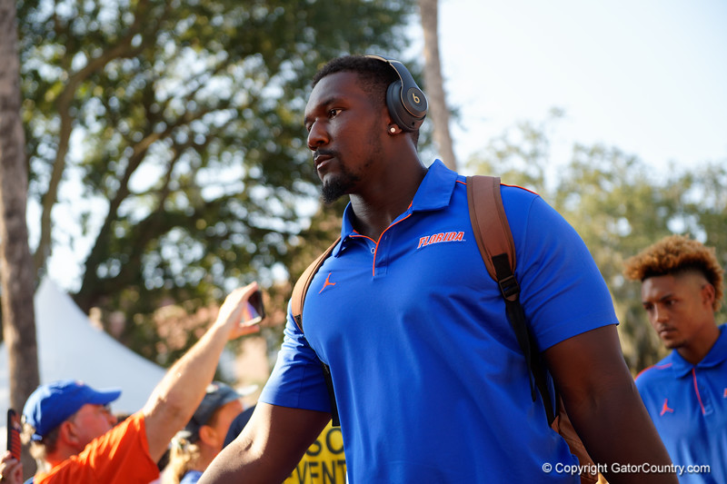 Florida Gators defensive lineman Zachary Carter (17) during Gator Walk as the Gators prepare to face UT Martin at Ben Hill Griffin Stadium in Gainesville, Florida.  September 7th, 2019. Gator Country Photo by David Bowie.
