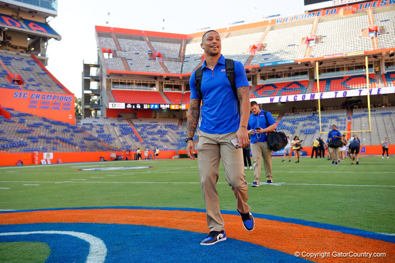 Florida Gators wide receiver Freddie Swain (16) during Gator Walk as the Gators prepare to face UT Martin at Ben Hill Griffin Stadium in Gainesville, Florida.  September 7th, 2019. Gator Country Photo by David Bowie.