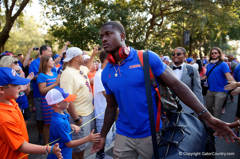 Florida Gators defensive back Trey Dean III (21) during Gator Walk as the Gators prepare to face UT Martin at Ben Hill Griffin Stadium in Gainesville, Florida.  September 7th, 2019. Gator Country Photo by David Bowie.