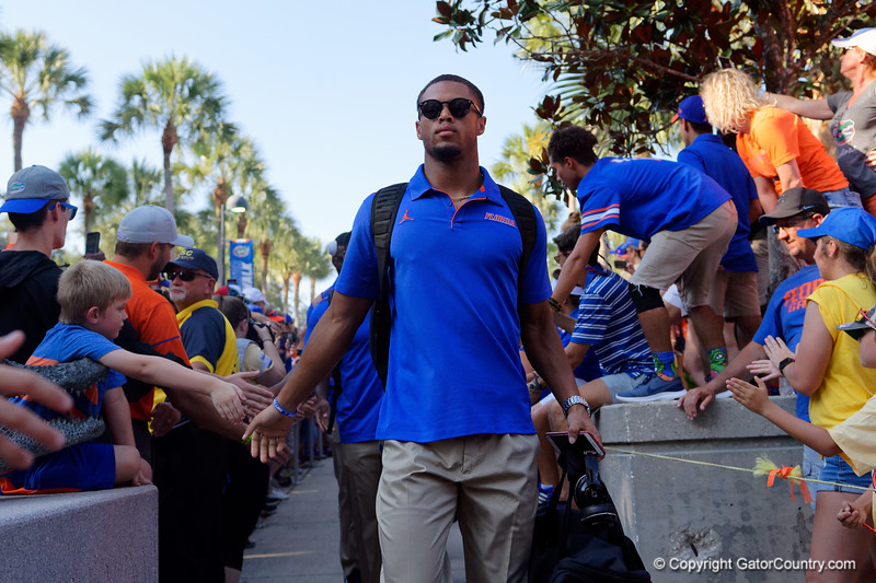 The Florida Gators football team during Gator Walk as the Gators prepare to face UT Martin at Ben Hill Griffin Stadium in Gainesville, Florida.  September 7th, 2019. Gator Country Photo by David Bowie.
