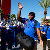 Florida Gators offensive lineman Nick Buchanan (66) as the Gators walk into Camping World Stadium during Gator Walk as the University of Florida Gators prepare to take on the University of Miami Hurricanes at Camping World Stadium in Orlando, Florida.  August 23rd, 2019. Gator Country Photo by David Bowie.
