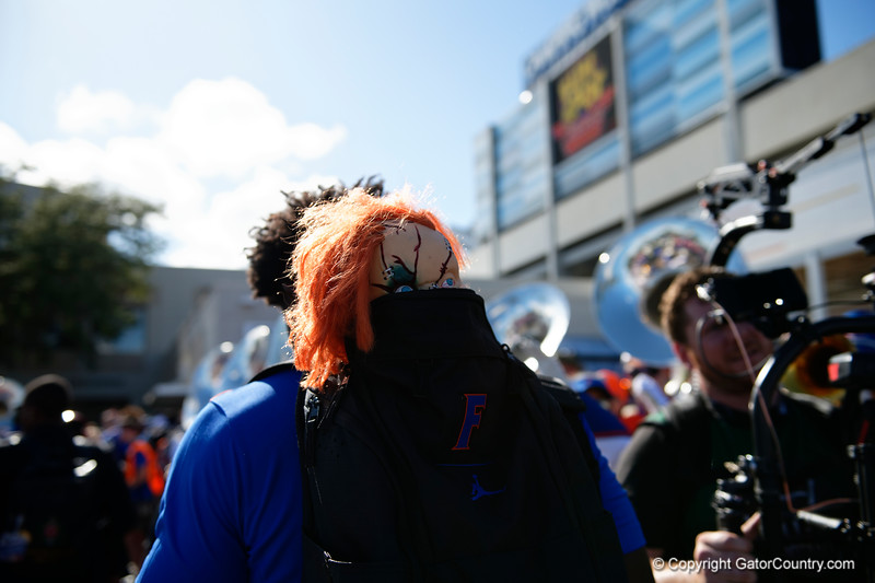 The Florida Gators Football team walks into Camping World Stadium during Gator Walk as the University of Florida Gators prepare to take on the University of Miami Hurricanes at Camping World Stadium in Orlando, Florida.  August 23rd, 2019. Gator Country Photo by David Bowie.