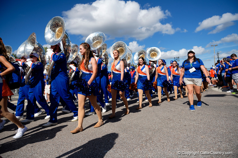 Gators fans cheer on as the Gators walk into Camping World Stadium during Gator Walk as the University of Florida Gators prepare to take on the University of Miami Hurricanes at Camping World Stadium in Orlando, Florida.  August 23rd, 2019. Gator Country Photo by David Bowie.