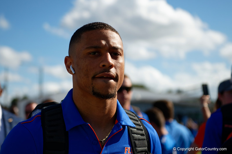 Florida Gators wide receiver Freddie Swain (16) as the Gators walk into Camping World Stadium during Gator Walk as the University of Florida Gators prepare to take on the University of Miami Hurricanes at Camping World Stadium in Orlando, Florida.  August 23rd, 2019. Gator Country Photo by David Bowie.