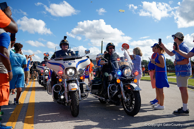 The GPD as the Gators walk into Camping World Stadium during Gator Walk as the University of Florida Gators prepare to take on the University of Miami Hurricanes at Camping World Stadium in Orlando, Florida.  August 23rd, 2019. Gator Country Photo by David Bowie.