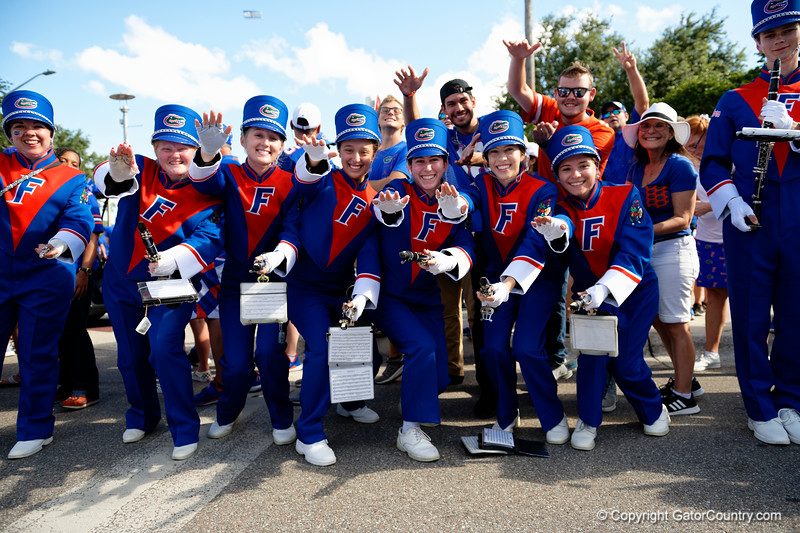 The Florida Band plays on as the Gators walk into Camping World Stadium during Gator Walk as the University of Florida Gators prepare to take on the University of Miami Hurricanes at Camping World Stadium in Orlando, Florida.  August 23rd, 2019. Gator Country Photo by David Bowie.
