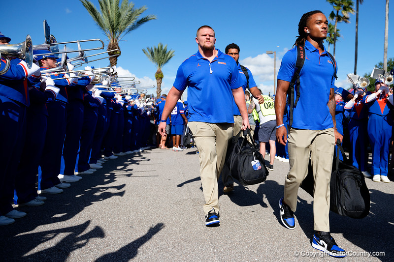 Florida Gators offensive lineman Brett Heggie (61) as the Gators walk into Camping World Stadium during Gator Walk as the University of Florida Gators prepare to take on the University of Miami Hurricanes at Camping World Stadium in Orlando, Florida.  August 23rd, 2019. Gator Country Photo by David Bowie.