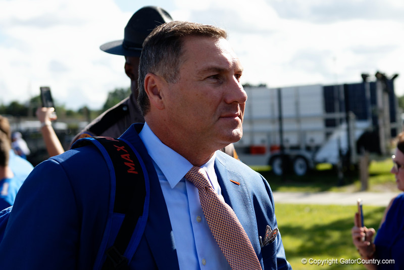 Florida Gators head coach Dan Mullen as the Gators walk into Camping World Stadium during Gator Walk as the University of Florida Gators prepare to take on the University of Miami Hurricanes at Camping World Stadium in Orlando, Florida.  August 23rd, 2019. Gator Country Photo by David Bowie.