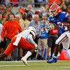 Florida Gators running back Lamical Perine (2) rushing as the University of Florida Gators hold on to win 24-20 over the University of Miami Hurricanes at Camping World Stadium in Orlando, Florida.  August 23rd, 2019. Gator Country Photo by David Bowie.