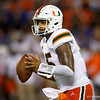 Miami Hurricanes quarterback Jarren Williams (15) looks downfield for an open receiver as the University of Florida Gators hold on to win 24-20 over the University of Miami Hurricanes at Camping World Stadium in Orlando, Florida.  August 23rd, 2019. Gator Country Photo by David Bowie.