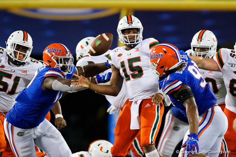 Miami Hurricanes quarterback Jarren Williams (15)  as the University of Florida Gators hold on to win 24-20 over the University of Miami Hurricanes at Camping World Stadium in Orlando, Florida.  August 23rd, 2019. Gator Country Photo by David Bowie.