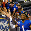 Florida Gators defensive back CJ Henderson (1) as the University of Florida Gators celebrate after holding on to win 24-20 over the University of Miami Hurricanes at Camping World Stadium in Orlando, Florida.  August 23rd, 2019. Gator Country Photo by David Bowie.