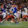 Miami Hurricanes place kicker Bubba Baxa (21) kicks in a field goal to make the score 7-6 as the University of Florida Gators hold on to win 24-20 over the University of Miami Hurricanes at Camping World Stadium in Orlando, Florida.  August 23rd, 2019. Gator Country Photo by David Bowie.