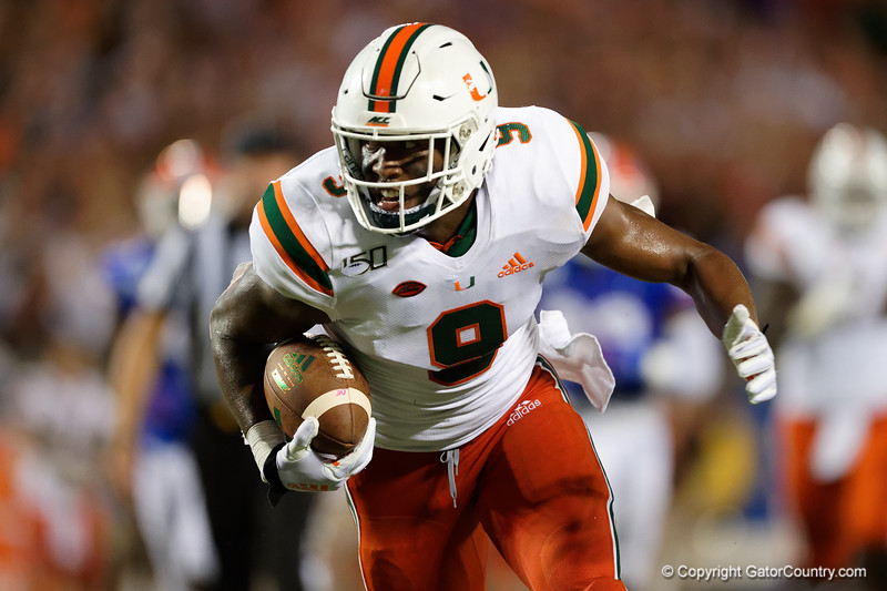 Miami Hurricanes tight end Brevin Jordan (9) rushing as the University of Florida Gators hold on to win 24-20 over the University of Miami Hurricanes at Camping World Stadium in Orlando, Florida.  August 23rd, 2019. Gator Country Photo by David Bowie.