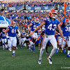 Florida Gators punter Tommy Townsend (43) runs onto the field during pregame as the University of Florida Gators hold on to win 24-20 over the University of Miami Hurricanes at Camping World Stadium in Orlando, Florida.  August 23rd, 2019. Gator Country Photo by David Bowie.