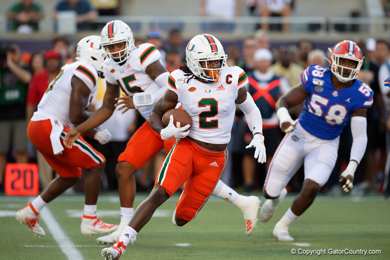 Miami Hurricanes wide receiver K.J. Osborn (2) rushing as the University of Florida Gators hold on to win 24-20 over the University of Miami Hurricanes at Camping World Stadium in Orlando, Florida.  August 23rd, 2019. Gator Country Photo by David Bowie.