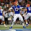 Florida Gators quarterback Feleipe Franks (13) throwing downfield as the University of Florida Gators hold on to win 24-20 over the University of Miami Hurricanes at Camping World Stadium in Orlando, Florida.  August 23rd, 2019. Gator Country Photo by David Bowie.