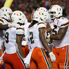 Miami celebrates a touchdown giving them the lead at 13-7 as the University of Florida Gators hold on to win 24-20 over the University of Miami Hurricanes at Camping World Stadium in Orlando, Florida.  August 23rd, 2019. Gator Country Photo by David Bowie.