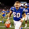 Florida Gators offensive lineman Tanner Rowell (50) as the University of Florida Gators celebrate after holding on to win 24-20 over the University of Miami Hurricanes at Camping World Stadium in Orlando, Florida.  August 23rd, 2019. Gator Country Photo by David Bowie.