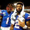 Florida Gators wide receiver Kadarius Toney (1) and Florida Gators running back Lamical Perine (2) as the University of Florida Gators celebrate after holding on to win 24-20 over the University of Miami Hurricanes at Camping World Stadium in Orlando, Florida.  August 23rd, 2019. Gator Country Photo by David Bowie.