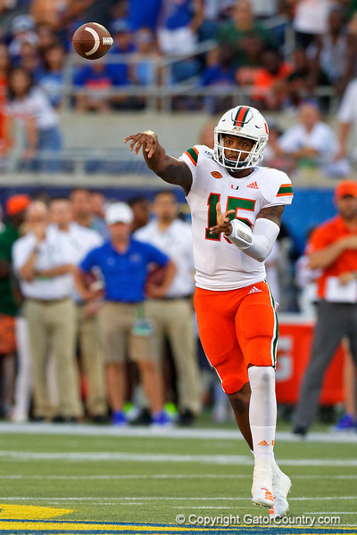 Miami Hurricanes quarterback Jarren Williams (15) throwing downfield as the University of Florida Gators hold on to win 24-20 over the University of Miami Hurricanes at Camping World Stadium in Orlando, Florida.  August 23rd, 2019. Gator Country Photo by David Bowie.