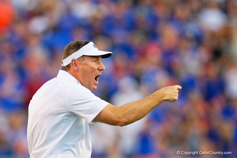 Florida Gators head coach Dan Mullen as the University of Florida Gators hold on to win 24-20 over the University of Miami Hurricanes at Camping World Stadium in Orlando, Florida.  August 23rd, 2019. Gator Country Photo by David Bowie.