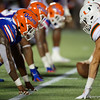 Florida and Miami line up at the line of scrimmage as the University of Florida Gators hold on to win 24-20 over the University of Miami Hurricanes at Camping World Stadium in Orlando, Florida.  August 23rd, 2019. Gator Country Photo by David Bowie.