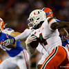 Miami Hurricanes wide receiver Jeff Thomas (4) rushing as the University of Florida Gators hold on to win 24-20 over the University of Miami Hurricanes at Camping World Stadium in Orlando, Florida.  August 23rd, 2019. Gator Country Photo by David Bowie.