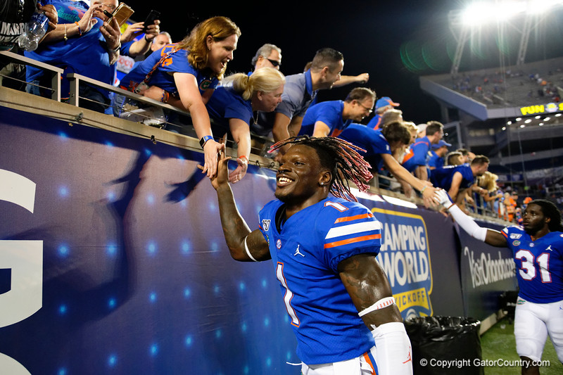 Florida Gators wide receiver Kadarius Toney (1) as the University of Florida Gators celebrate after holding on to win 24-20 over the University of Miami Hurricanes at Camping World Stadium in Orlando, Florida.  August 23rd, 2019. Gator Country Photo by David Bowie.