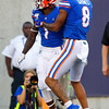 Florida Gators wide receiver Kadarius Toney (1) breaks free and takes it in for a touchdown to put the Gators up 7-3 as the University of Florida Gators hold on to win 24-20 over the University of Miami Hurricanes at Camping World Stadium in Orlando, Florida.  August 23rd, 2019. Gator Country Photo by David Bowie.