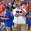 Florida Gators offensive line head coach John Hevesy walks the sideline as the University of Florida Gators hold on to win 24-20 over the University of Miami Hurricanes at Camping World Stadium in Orlando, Florida.  August 23rd, 2019. Gator Country Photo by David Bowie.