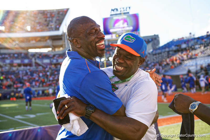 Former Florida Gators Titus O'Neil and Alex Brown during pregame as the University of Florida Gators hold on to win 24-20 over the University of Miami Hurricanes at Camping World Stadium in Orlando, Florida.  August 23rd, 2019. Gator Country Photo by David Bowie.