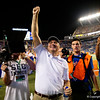Florida Gators head coach Dan Mullen as the University of Florida Gators celebrate after holding on to win 24-20 over the University of Miami Hurricanes at Camping World Stadium in Orlando, Florida.  August 23rd, 2019. Gator Country Photo by David Bowie.