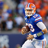 Florida Gators quarterback Feleipe Franks (13) scrambles for a first down as the University of Florida Gators hold on to win 24-20 over the University of Miami Hurricanes at Camping World Stadium in Orlando, Florida.  August 23rd, 2019. Gator Country Photo by David Bowie.