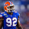 Florida Gators defensive lineman Jabari Zuniga (92) as the University of Florida Gators hold on to win 24-20 over the University of Miami Hurricanes at Camping World Stadium in Orlando, Florida.  August 23rd, 2019. Gator Country Photo by David Bowie.