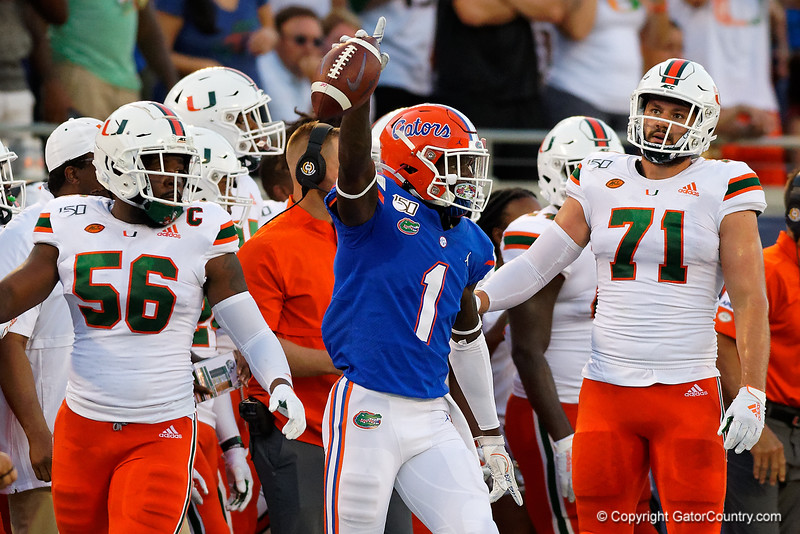 Florida Gators wide receiver Kadarius Toney (1) celebrates after a first down catch as the University of Florida Gators hold on to win 24-20 over the University of Miami Hurricanes at Camping World Stadium in Orlando, Florida.  August 23rd, 2019. Gator Country Photo by David Bowie.