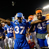 Florida Gators defensive back Patrick Moorer (37) and Florida Gators tight end Clifford Taylor IV (45) as the University of Florida Gators celebrate after holding on to win 24-20 over the University of Miami Hurricanes at Camping World Stadium in Orlando, Florida.  August 23rd, 2019. Gator Country Photo by David Bowie.